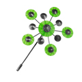 brooch - green with antiqued silver