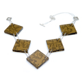large square necklace - brown