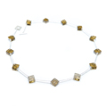 small square necklace - brown