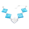 large square necklace with silver - blue