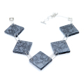 large square necklace - grey